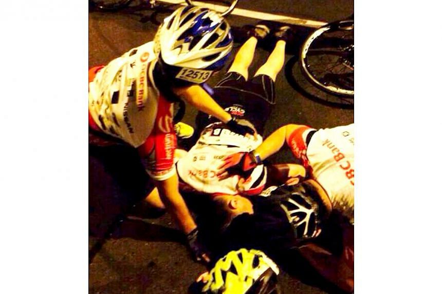 Mr Chia, who was a first-timer at the annual ride, hurt himself at Benjamin Sheares Bridge soon after the start of the 59km Super Challenge. --PHOTO: COURTESY OF ANGEL SOO