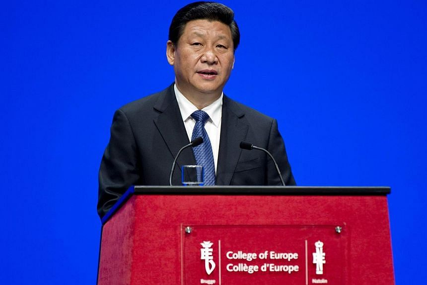 Chinese President Xi Jinping speaking at the College of Europe a visit to the historical city of Brugge on April 1, 2014. -- PHOTO: AFP