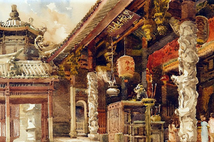 Temple by China-born Gog Sing Hooi (1933 - 1994), one of Singapore's pioneer watercolourists. -- PHOTO: NATIONAL GALLERY