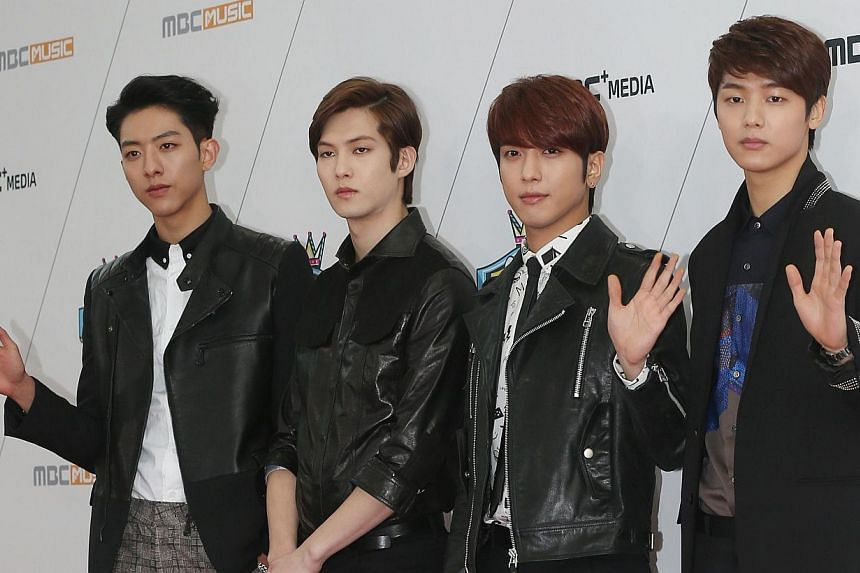South Korean group CNBLUE at the 100th episode of MBC Show Champion in Seoul on March 19, 2014. The band will stage a concert in Singapore on May 10.-- FILE PHOTO: AFP