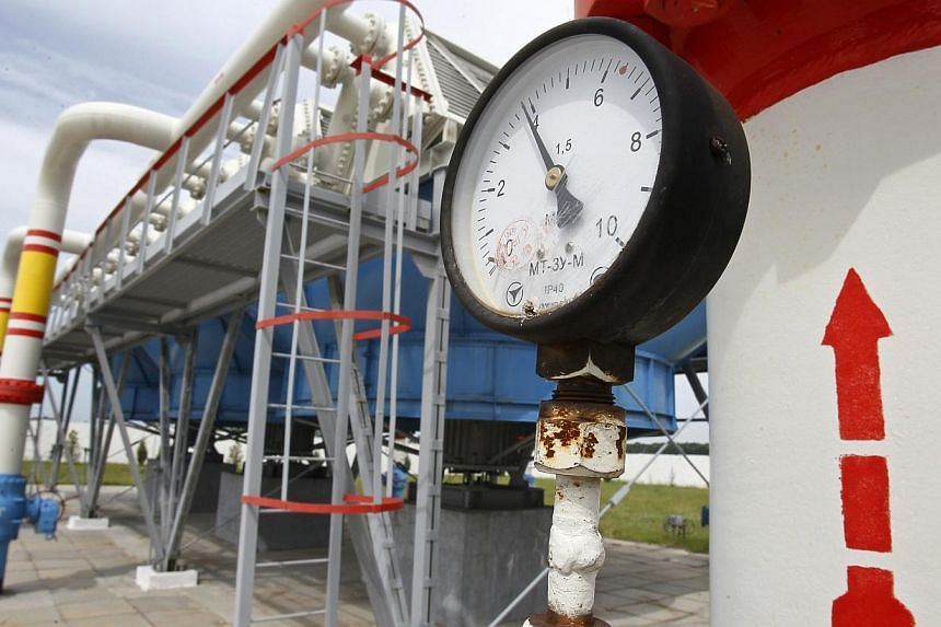 A pressure gauge is seen at an underground gas storage facility in the village of Mryn, 120 km north of Kiev, on May 21, 2013. Russian Prime Minister Dmitry Medvedev said on Thursday, April 3, 2014, that he has scrapped the last discount on gas price