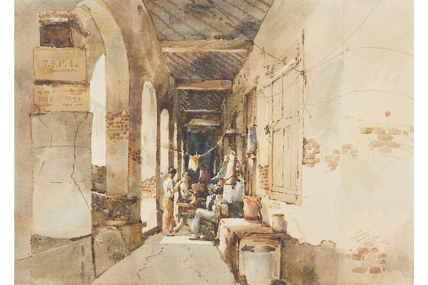 Barber by Ong Kim Seng. 1982. Watercolour on paper, 54 x 70 cm. Gift of DBS Bank Ltd. -- PHOTO: NATIONAL COLLECTION, SINGAPORE
