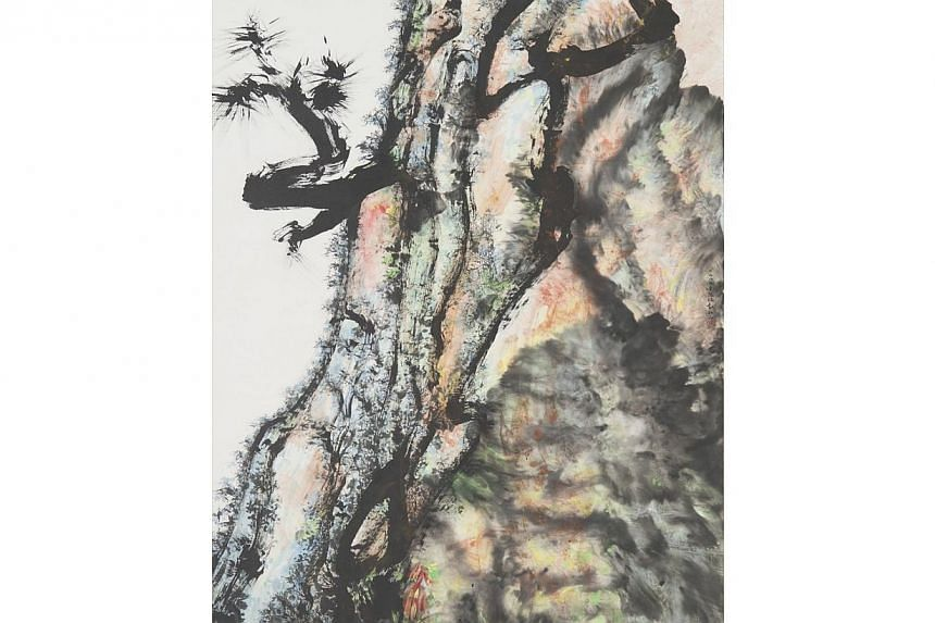 Longevity Tree by Tan Swie Hian. Undated. Acrylic and Chinese ink on paper, 154 x 122 cm. Gift of DBS Bank Ltd. -- PHOTO: NATIONAL COLLECTION, SINGAPORE