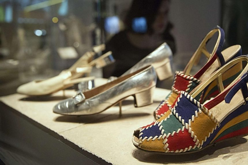 Italian leather shoes at the exhibition.-- PHOTO: REUTERS