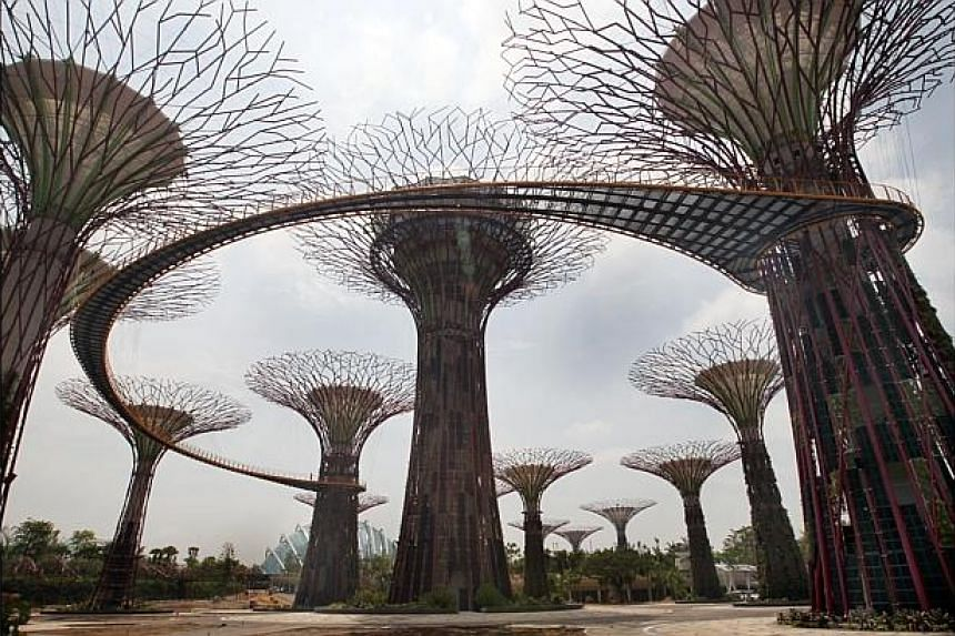 Visitors to the soon-to-open Gardens by the Bay will have a panoramic view of the Marina Bay areafrom the 128m-long aerial walkway (pictured), named OCBC Skywalk, which winds through the Supertree Grove. -- ST FILE PHOTO: LAU FOOK KONG