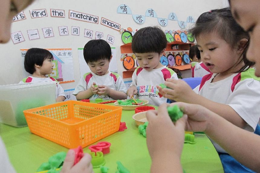 K1 students from MY World @ Simei play with dough at the centre. -- PHOTO: NEO XIAOBIN