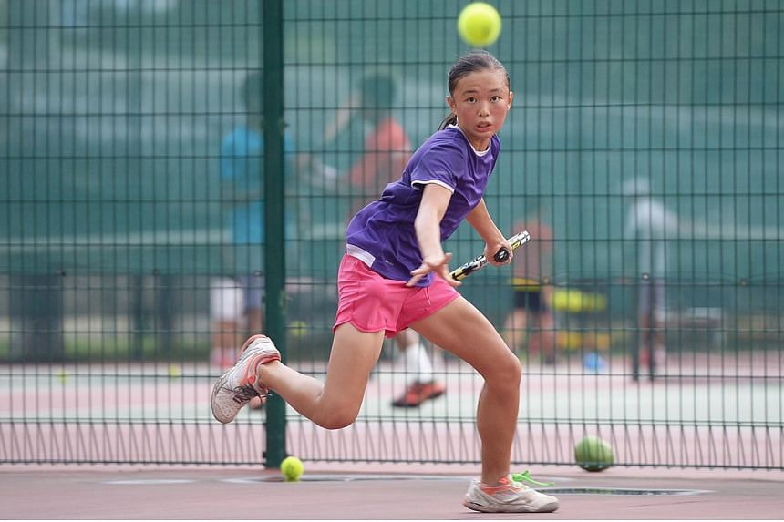 Young local tennis junior Tessa Wong edged out five other hopefuls on Friday at the Kallang Tennis Centre to win a coveted spot at the Longines Future Tennis Aces tournament in Paris next month.-- ST PHOTO:DESMOND WEE