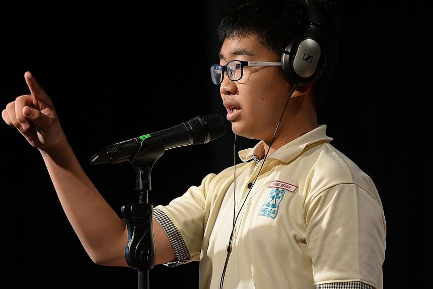 Huang Bei Hua at the ST-MOE National Spelling Championships zonal rounds (South Zone). -- ST PHOTO: NG SOR LUAN