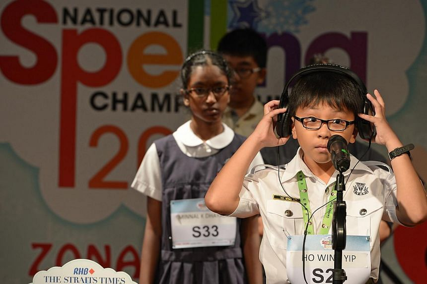 Ho Wing Yip, after spelling a word wrongly at the ST-MOE National Spelling Championships zonal rounds (South Zone). -- ST PHOTO: NG SOR LUAN