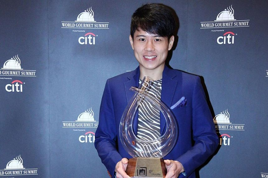 French restaurant Le Bistrot du Sommelier's chef de cuisine, Brandon Foo,picked up the award for Meat & Livestock Australia Rising Chef Of The Year at yesterday's World Gourmet Series Awards of Excellence. -- PHOTO:WORLD GOURMET S