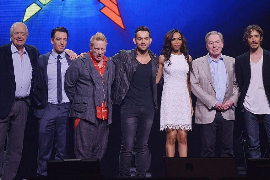 (From left) Lyricist Tim Rice, singers JC Chasez, John Rotten Lydon, Ben Forster and Michelle Williams, composer Andrew Lloyd Webber, and singer Brandon Boyd attend a press conference for the Jesus Christ Superstar arena tour on April 4, 2014 in New