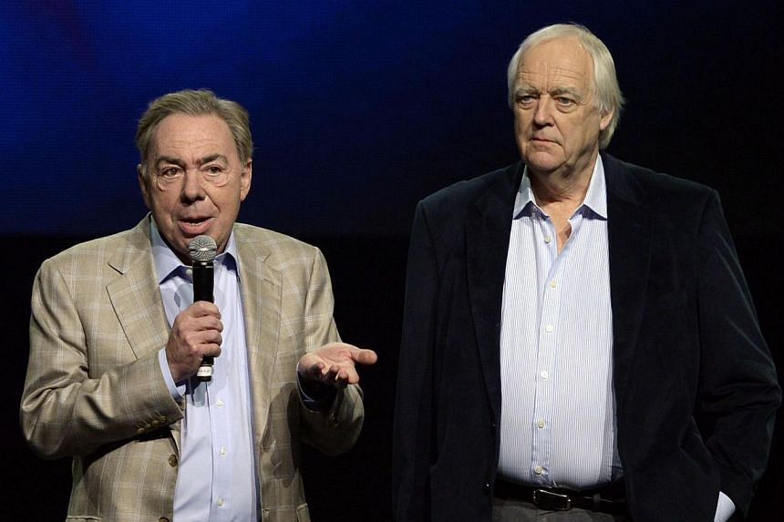 Composer Andrew Lloyd Webber (left) and Tim Rice at the press conference for the Jesus Christ Superstar arena tour on April 4, 2014 in New York City. The 54-city tour kicks off June 9 in New Orleans. -- PHOTO: AFP
