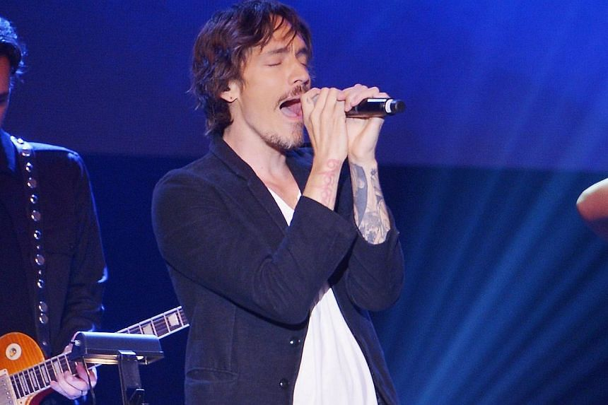 Singer Brandon Boyd performs at the press conference for the Jesus Christ Superstar arena tour on April 4, 2014 in New York City. -- PHOTO: AFP