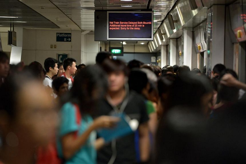 A signage informing passengers at Serangoon MRT station waiting for the train toward Potong Pasir MRT station of the train delay. Train commuters on the North East Line were delayed for almost an hour on Sunday due to a power fault, said rail op