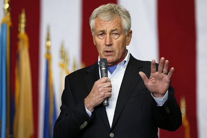 United States (US) Secretary of Defence Chuck Hagel speaks to US and Japan military personnel stationed at Yokota Air Base on the outskirts of Tokyo on April 5, 2014. -- FILE PHOTO: REUTERS