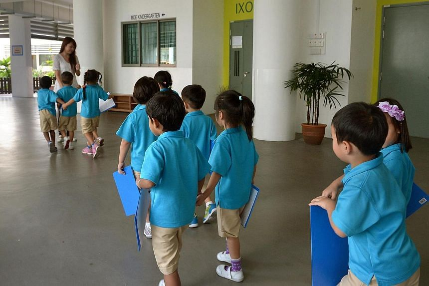 Children participating in the Week of Wonders project at theMOE kindergarten at Dazhong Primary School in Bukit Batok on March 11, 2014.The Ministry of Education (MOE) received 650 applications for Kindergarten 1 places in 2015 for its 10