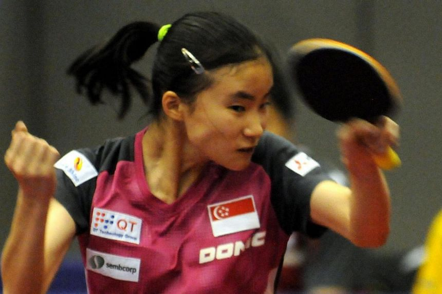 Local youth paddler Yee Herng Hwee has made it to this year's Youth Olympic Games, clinching one of the first two spots available on Sunday, April 4, 2014, at the Asia Continental Qualification event in Bangkok. -- PHOTO:COURTESY OF ITTF