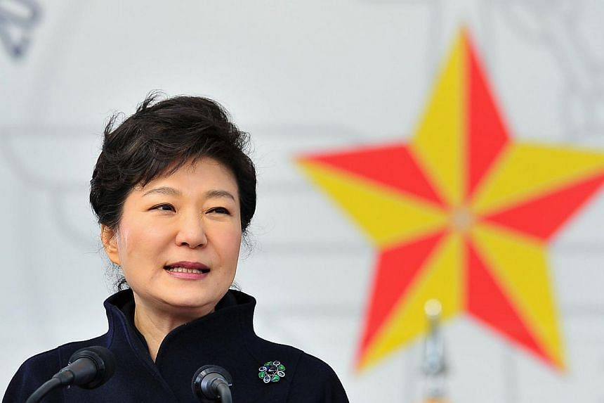 South Korean President Park speaks during a joint commissioning ceremony for 5,860 new officers from the Army, Navy, Air Force and Marines at the military headquarters in Gyeryong, south of Seoul.South Korean President Park Geun Hye called on M