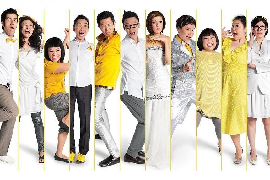 Expect jokes galore from 13 performers (from left) Fuzz, Rishi, Judee Tan, Pam Oei, Hossan Leong, Adrian Pang, Mark Lee, Kumar, Sebastian Tan, Selena Tan, Siti Khalijah, Karen Tan and Zul. -- PHOTO: DREAM ACADEMY