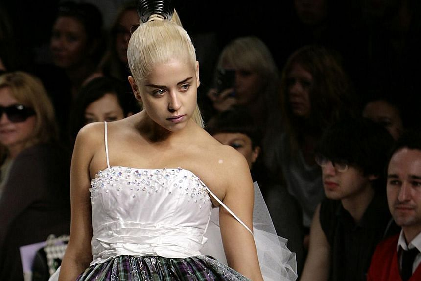 In a file picture taken on Sep 16, 2007, Peaches Geldof, the daughter of singer Sir Bob Geldof, models during the PPQ show of the London Fashion Week at the BFC tent in the British captial's Natural History. -- PHOTO: AFP