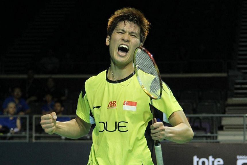 Singapore shuttler Derek Wong celebrates after defeating Denmark's Hans-Kristian Vittinghus at the OUE Singapore Open on April 9, 2014. Singapore's shuttlers got their campaign at the OUE Singapore Open to a good start on Wednesday, with men's s