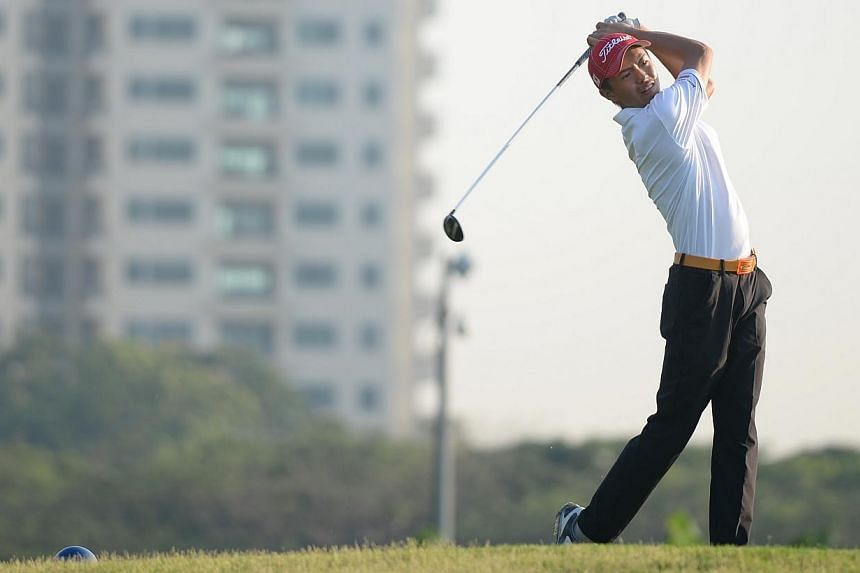 James Leow from ACJC tees off during the Schools' National Golf Team Championships for A Divisions boys. After losing both A Division boys and girls titles last year, Anglo-Chinese Junior College (ACJC) bounced back to reclaim both trophies at t