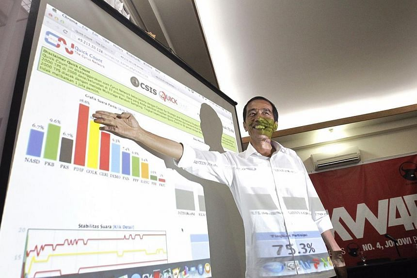 Jakarta governor and PDI-P presidential candidate Joko Widodo points to the lead PDI-P holds after a quick count of polls during a press conference in Jakarta, Indonesia, on Wednesday, April 9, 2014.After a decade in opposition, the Indonesian