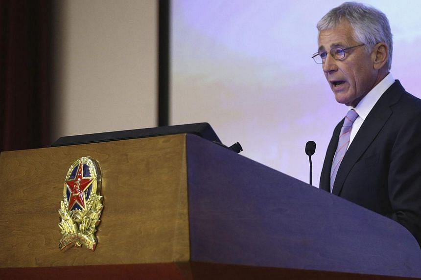 US Secretary of Defense Chuck Hagel gives a speech at the National Defense University in Beijing on April 8, 2014. -- PHOTO: REUTERS