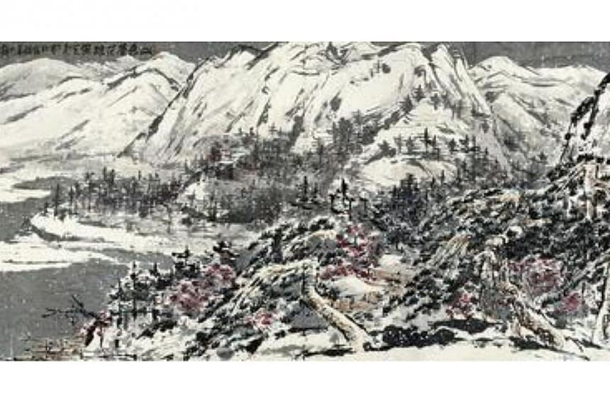 Poly Auction staff could not find the Chinese ink painting Snowy Mountain yesterday, and police suspected that the painting had been placed on the floor, and someone on patrol mistakenly kicked it next to a heap of garbage nearby, says the report. --