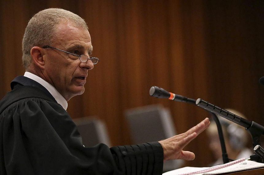 State prosecutor Gerrie Nel gestures as he cross-examines South African Olympic and Paralympic sprinter Oscar Pistorius during his trial at the North Gauteng High Court in Pretoria on April 9, 2014. There were gasps from the packed public gallery at