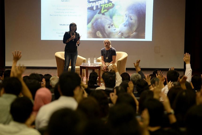 Ms Yeoh Siew Hoon, founder of travel industry site Web In Travel, moderating yesterday's talk by Mr Bernard Harrison (right) entitled Creating World Class Tourist Attractions Out of Humble Products.