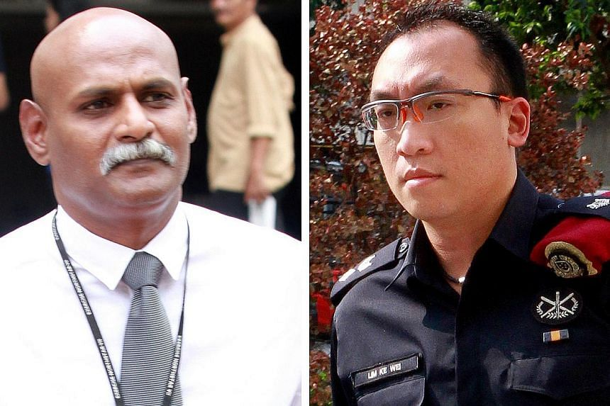 DSP N. Subramaniam (left) and Special Operations Command officer Lim Ke Wei said they could not recognise Mahalingam Thavamani, the first of 25 charged over their alleged role in the riot to claim trial. -- ST PHOTOS: LAU FOOK KONG