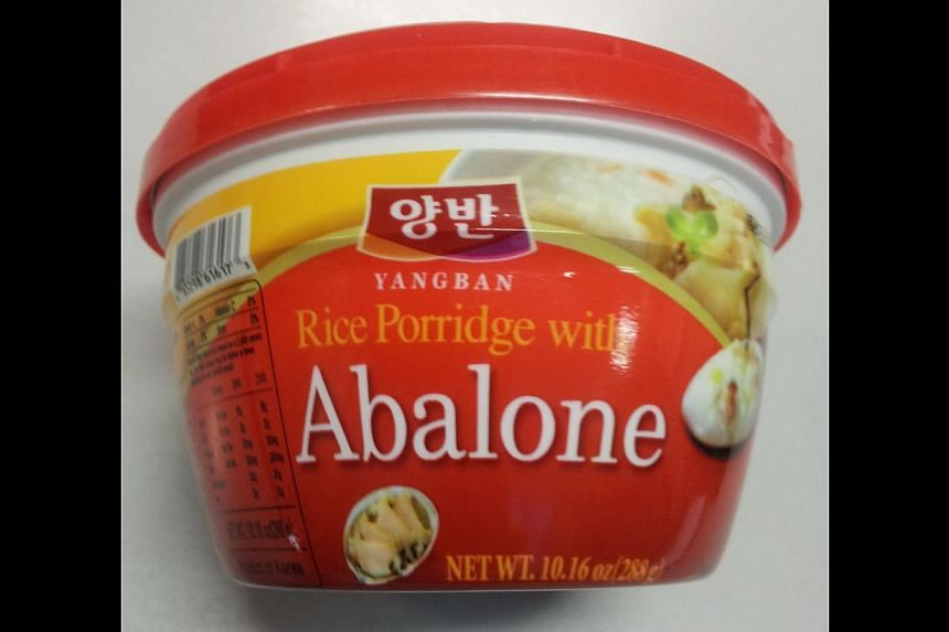 Consumers have been advised not to eat Yangban brand Korean-made rice porridge with abalone after it was found to contain a harmful bacteria.-- PHOTO: AGRI-FOOD AND VETERINARY AUTHORITY OF SINGAPORE