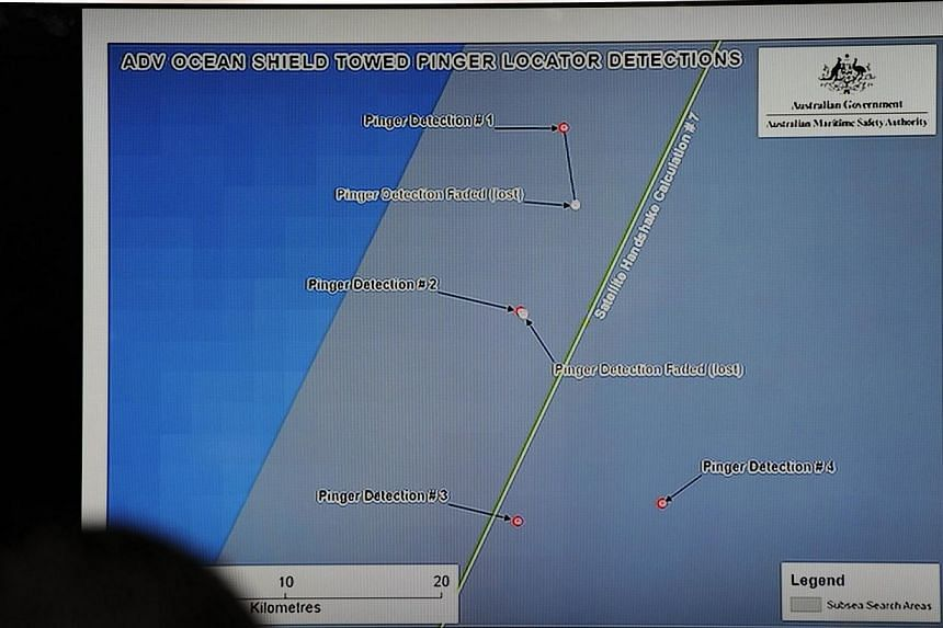 A graphic of towed pinger locator detections by Australian ship Ocean Shield in the area being searched for missing Malaysia Airlines flight MH370, is displayed during a media conference involving Angus Houston, head of the Joint Agency Coordination
