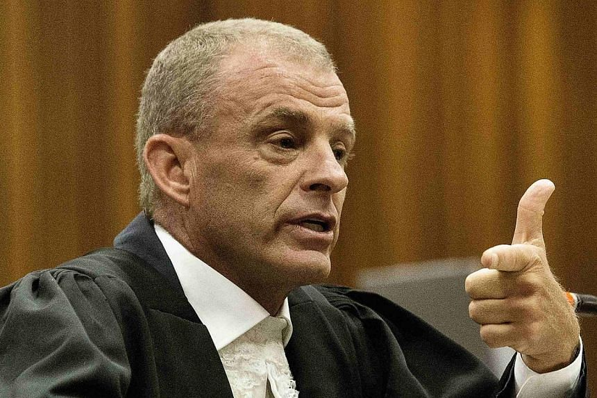 State prosecutor Gerrie Nel gestures as he cross examines South African Olympic and Paralympic track star Oscar Pistorius during his ongoing murder trial in Pretoria, April 10, 2014.A South African prosecutor accused Oscar Pistorius on Thursday