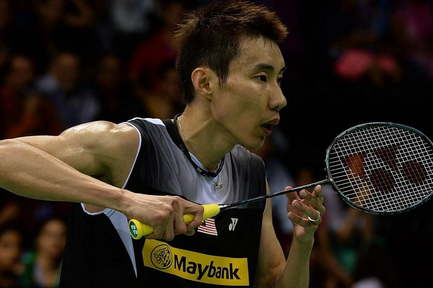 Malaysian badminton player Lee Chong Wei in action against Du Pengyu of China during their Yonex-Sunrise men's singles semi-final match at the Siri Fort Sports Complex in New Delhi on April 5, 2014.World No. 1 Lee Chong Wei handed out a lesson