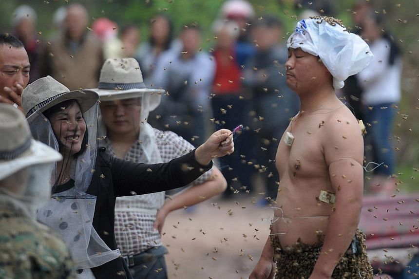 This picture taken on April 9, 2014, shows people watching She Ping (right) covered with a swarm of bees on a small hill in southwest China's Chongqing. -- PHOTO: AFP
