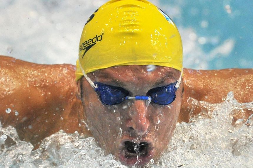 Ian Thorpe swims in the men's 100m butterfly preliminary session at the Fina Swimming World Cup short-course meet in Tokyo on Nov 13, 2011. -- FILE PHOTO: AFP