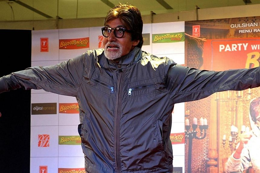 Indian Bollywood actor Amitabh Bachchan poses for a photograph during a promotional event for the forthcoming Hindi film Bhoothnath Returns directed by Nitesh Tiwari in Mumbai on March 22, 2014. Better known for its romantic escapism, Bollywood