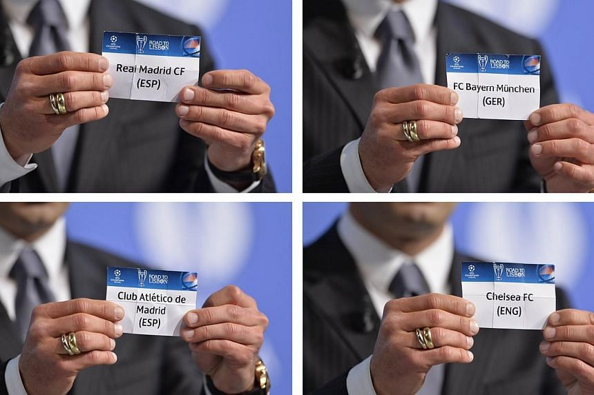 A combination of pictures taken and made on April 11, 2014, shows former Portuguese international football player and ambassador for the final in Lisbon, Luis Figo, holding up draw cards with the names of Spanish football club Real Madrid, German foo