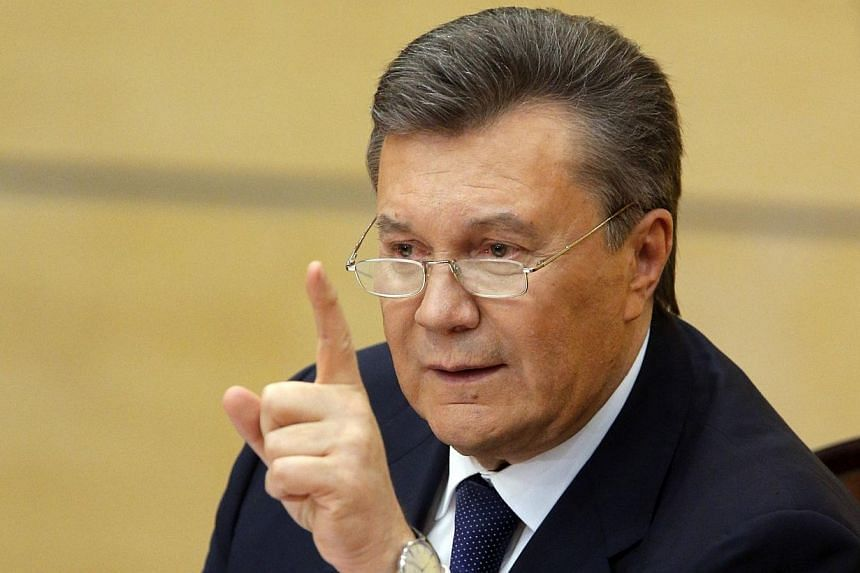 Ousted Ukrainian President Viktor Yanukovich takes part in a news conference in the southern Russian city of Rostov-on-Don on February 28, 2014. Moscow will not extradite Viktor Yanukovich to Ukraine, Russia's chief prosecutor said on Friday, Ap
