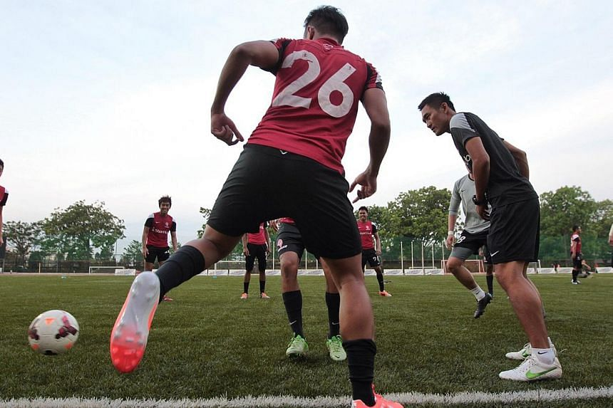 The LionsXII training at ITE Central yesterday before their match against Sime Darby FC at Jalan Besar Stadium tomorrow. Coach Fandi Ahmad is placing increased importance on honing his strikers' skills and their anticipation level as he wants them to