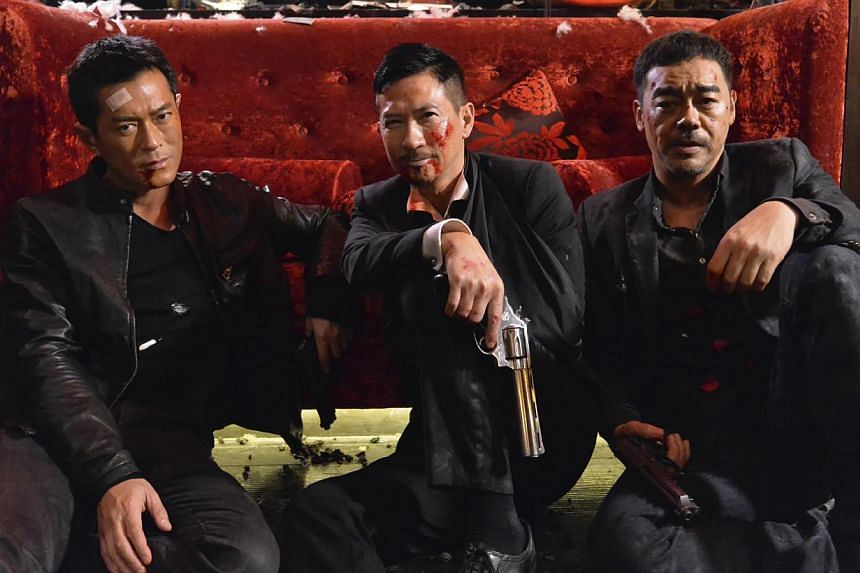 The White Storm starring (from left) Louis Koo, Nick Cheung and Sean Lau Ching Wan. -- FILE PHOTO: SHAW ORGANISATION/CINEMA STILL