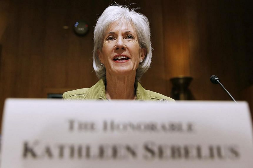 United States (US) Secretary of Health and Human Services Kathleen Sebelius sits down prior to testifying before the Senate Finance Committee hearing on the President's budget proposal for FY2015, on Capitol Hill in Washington on April 10, 2014. Ms S