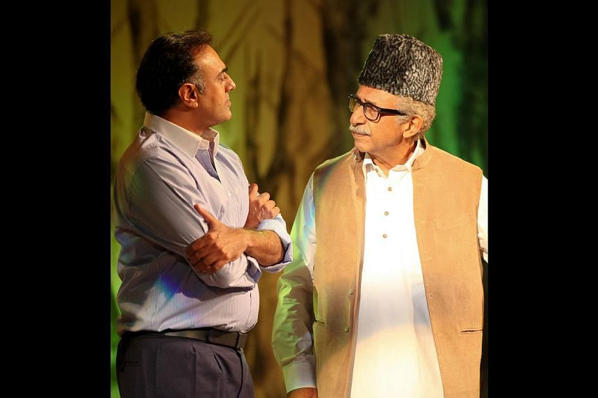 Rajit Kapoor (left) and Naseeruddin Shah are in Singapore for a one-night staging of A Walk In The Woods. -- PHOTO: DE IDEAZ