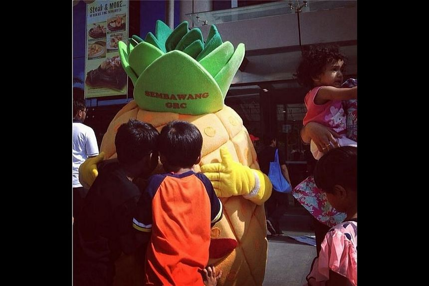Kids crowd around Mr Semba Wang, the pineapple mascot chosen to represent Sembawang GRC at a children's art event held at Woodlands Civic Centre. -- ST PHOTO: MARK CHEONG