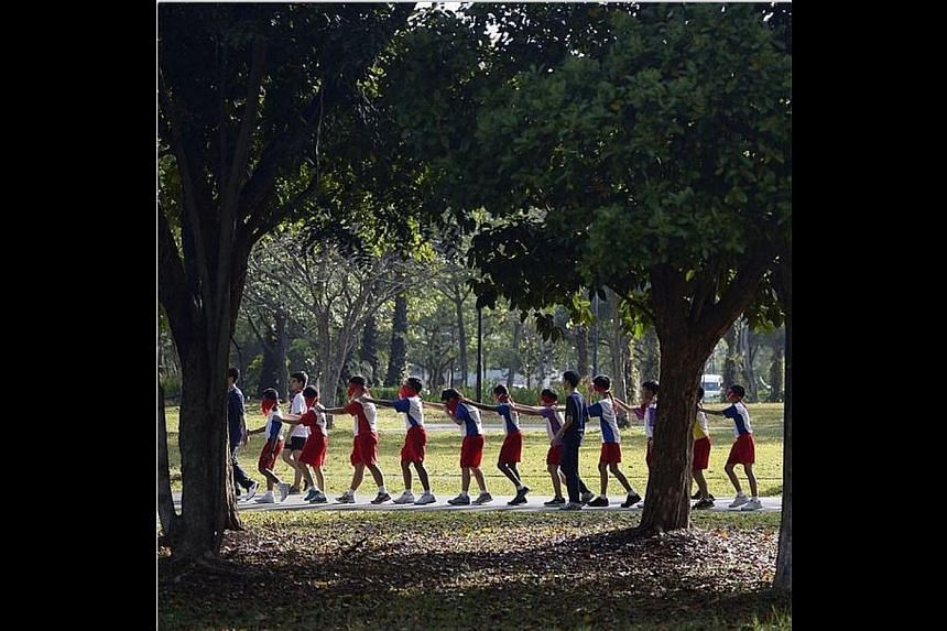 Blindfolded, a group of about 100 scouts take a walk around West Coast Park. The walk, organised by student-run organisation A Little Change, hopes to send a message about how poverty sometimes goes unseen in Singapore. -- ST PHOTO: DESMOND LIM