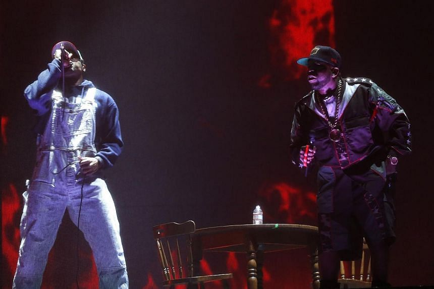 Big Boi (right) and Andre 3000 of Outkast perform at the Coachella Valley Music and Arts Festival in Indio, California on April 11, 2014. The hip-hop duo reunited for the first time in eight years on Friday, and brought a taste of old school hip-hop