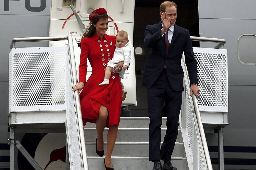 Britain's Prince William (right) his wife Catherine, Duchess of Cambridge, and their son Prince George disembark from their plane after arriving in Wellington on April 7, 2014. -- FILE PHOTO: REUTERS