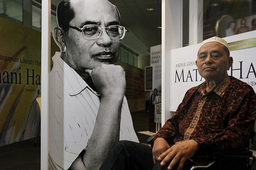 Abdul Ghani Abdul Hamid at an exhibition in 2011 at the National Library Building called Mata & Hati, or The Eyes And The Heart. Mata & Hati is the title of two of his works: A 1957 abstract, Cubist painting of what could be a lion or a Merli